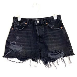 TopShop Black Moto Distressed High Rise Shorts